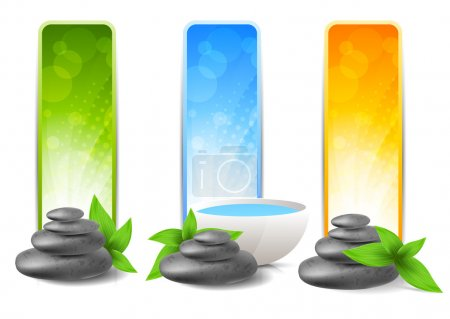 Illustration for Set of spa banners with stones and leaves - Royalty Free Image