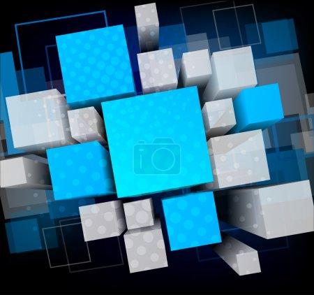 Illustration for Abstract background with 3d cubes and squares - Royalty Free Image