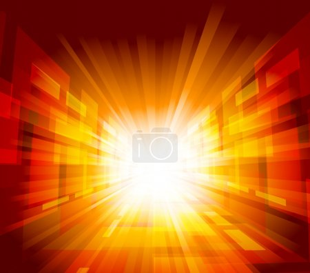 Illustration for Bright background with rays in orange color - Royalty Free Image