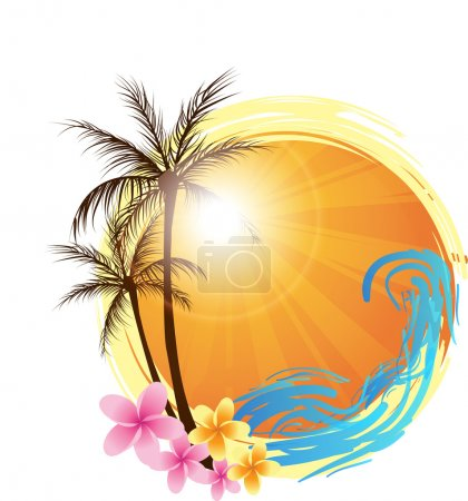 Photo for Round banner with palms and ocean's wave and water splash - Royalty Free Image
