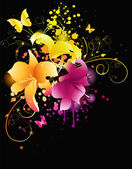 Glowing lily flowers with florals elements and grunge background