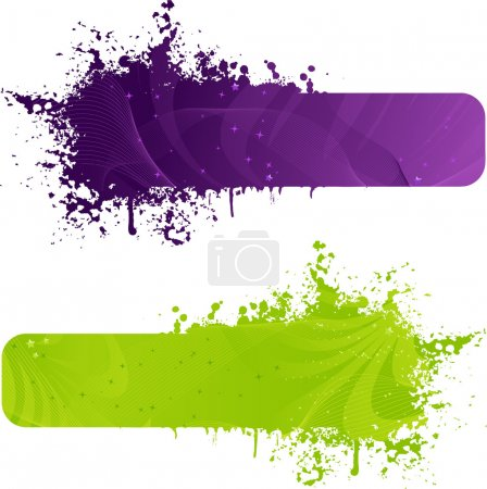 Illustration for Two grunge banner in purple and green colors with wave design and stars - Royalty Free Image
