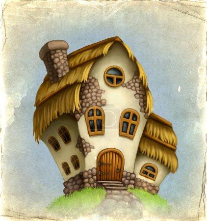 Photo pour Ancienne carte avec maison de conte de fées - image libre de droit