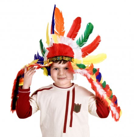 Fun boy in costume of indian. Isolated.