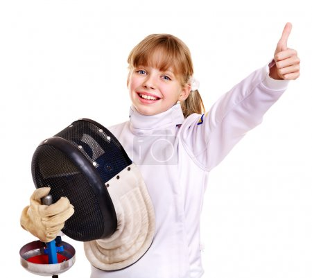 Child in fencing costume holding epee thumb up. Is...