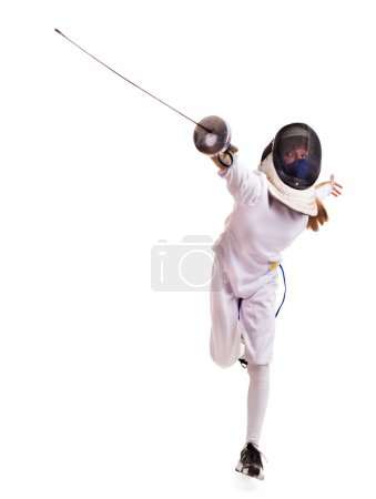 Child epee fencing lunge. Isolated....