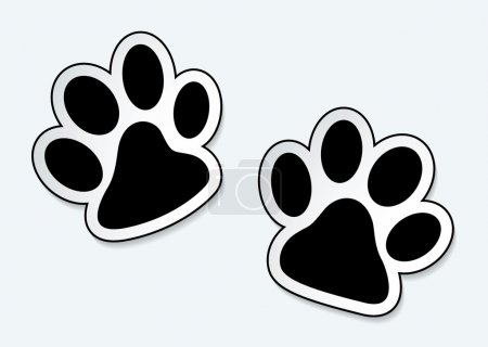 Animal paw prints icons with shadow effect...
