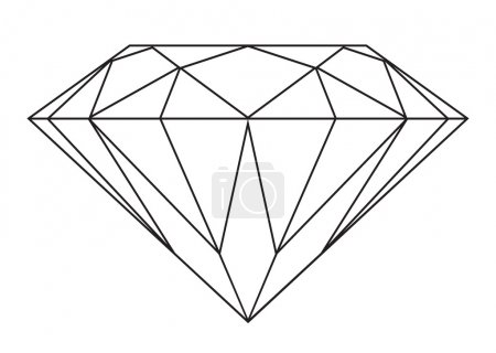 Simple black and white diamond outline icon or sym...