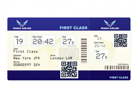 Photo for Fake plane ticket with scan smart barcode modern QR code - Royalty Free Image