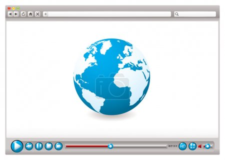 Illustration for World wide web browser with globe and video control buttons - Royalty Free Image