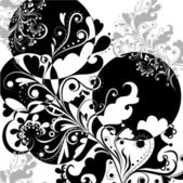 Floral abstract pattern in black and white on a white background 2
