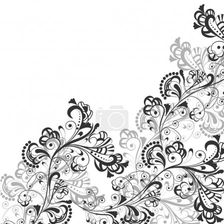 Illustration for Floral abstract pattern in shades of gray on a transparent background - Royalty Free Image