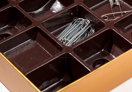 Inside of chocolate box as organizer