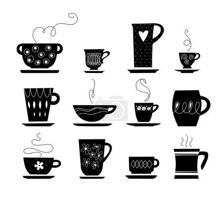 Illustration pour Silhouette de tasse noire et blanche. jpg inclure chemin isolé. EPS 8 - image libre de droit