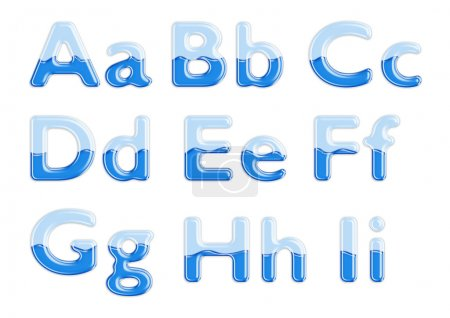 Glass and water alphabet