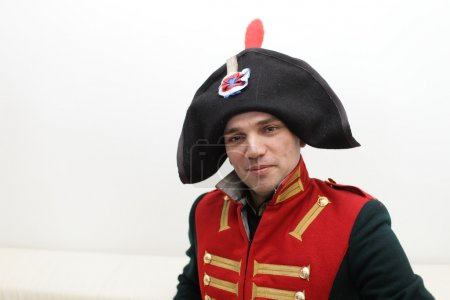 Photo for It is portrait of the Napoleonic soldier indoor - Royalty Free Image