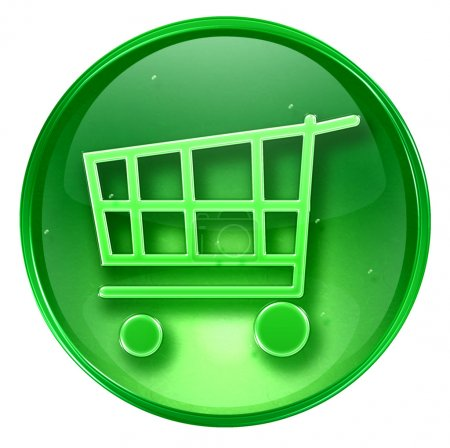Shopping cart icon green, isolated on white background.
