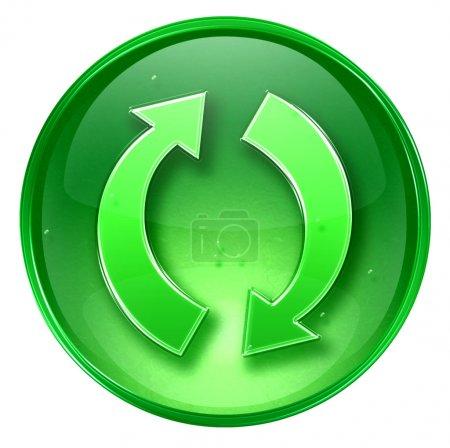Photo pour Actualiser icône verte, isolé sur fond blanc. - image libre de droit