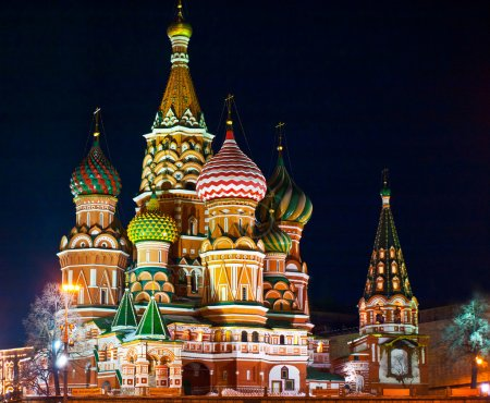 Saint Basils cathedral. Russia, Moscow, night