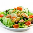 Closeup of a healthy chicken salad with greens, to...