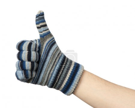Photo for Hand in blue mittens show gesture ok. Isolated on white - Royalty Free Image