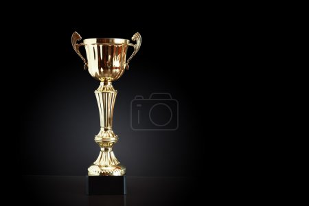 Gold Trophy On Black