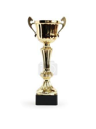 Photo pour Trophée d'or sur fond blanc. Le chemin de coupe est inclus - image libre de droit