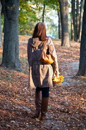 Photo pour Femme à pied dans le parc d'automne - image libre de droit