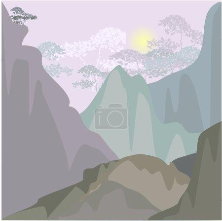 Illustration pour Paysage de montagne le matin - image libre de droit