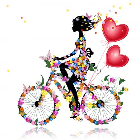 Illustration for Flower girl bike with air valentines - Royalty Free Image