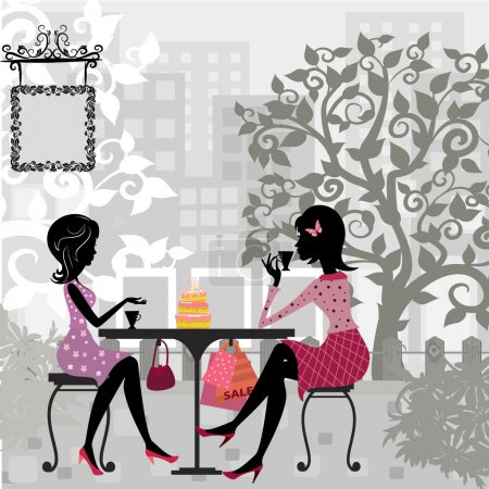 Illustration for Girl in a summer cafe and cake - Royalty Free Image