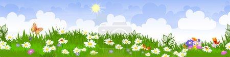 Illustration for Summer landscape panorama - Royalty Free Image