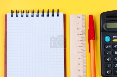 Notebook and stationery close-up.