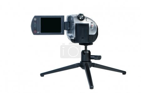Portable camcorder with LSD display on mini-tripod.