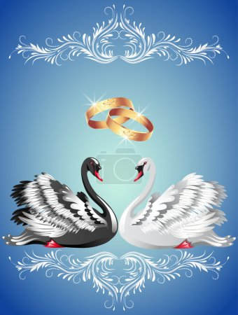 Wedding rings and two swans