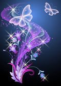 Glowing background with smoke flowers and butterfly