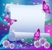 Magic background with paper butterflies and a place for text