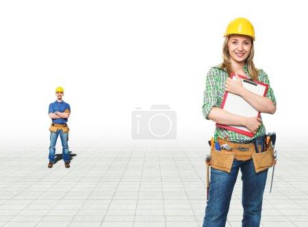 Photo pour Souriant jeunes ouvriers sur avion 3d - image libre de droit