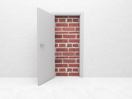 Photo for White open door and brick wall 3d - Royalty Free Image