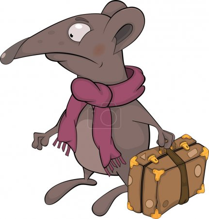 Illustration for Mouse animal baggage pest pets rat rodent scarf - Royalty Free Image