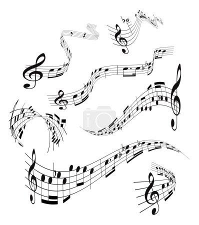 Illustration pour Ensemble de curling, notes de musique vectorielles bâton sur blanc - image libre de droit