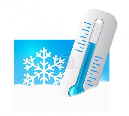 Illustration pour Thermomètre dans la neige avec flocons de neige en arrière-plan. Illustration vectorielle - image libre de droit