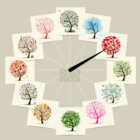 12 months with art trees, watches concept design