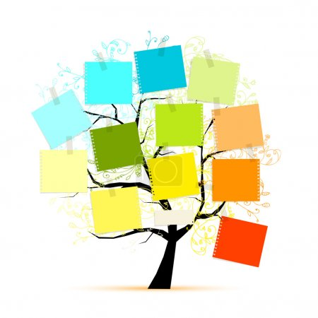 Illustration for Art tree with stickers for your design - Royalty Free Image