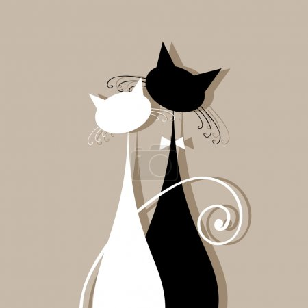Illustration for Couple cats together, silhouette for your design - Royalty Free Image