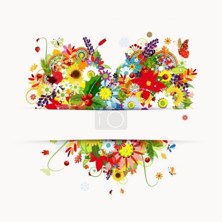 Foto de Diseño de la tarjeta de regalo con corazón floral, cuatro estaciones - Imagen libre de derechos