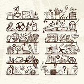 Objects for school on shelves sketch drawing for your design