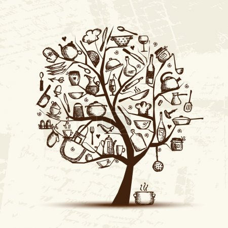 Illustration for Art tree with kitchen utensils, sketch drawing for your design - Royalty Free Image