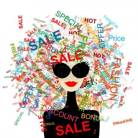 Illustration for I love sale! Fashion woman with shopping concept for your design - Royalty Free Image