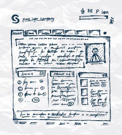 Plantilla de dibujo a mano del sitio web en hoja de papel